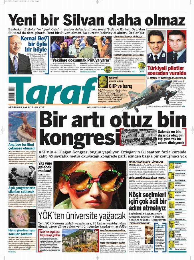 Gazete Manşetleri - 30 Eylül Pazar 8