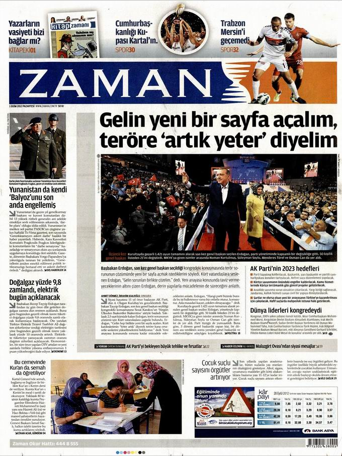 Gazete Manşetleri - 1 Ekim Pazartesi galerisi resim 1