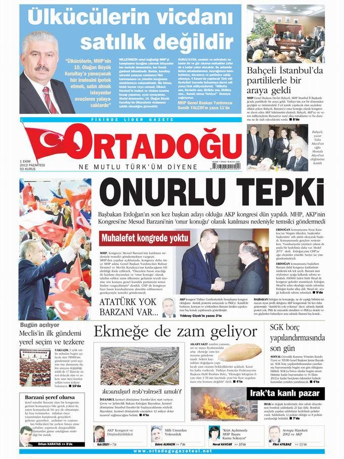 Gazete Manşetleri - 1 Ekim Pazartesi 14