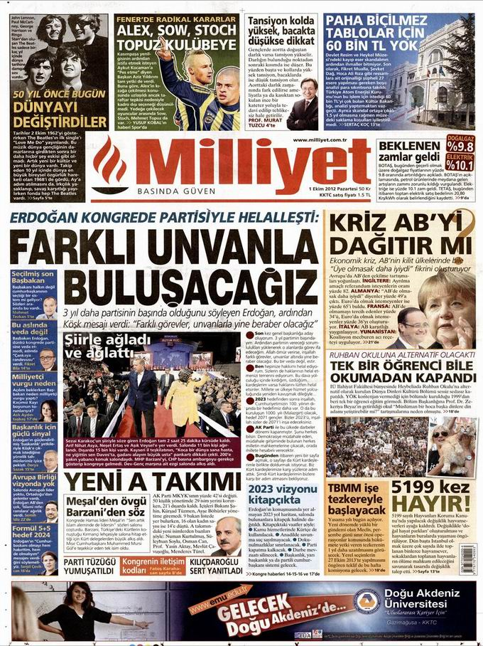 Gazete Manşetleri - 1 Ekim Pazartesi 15