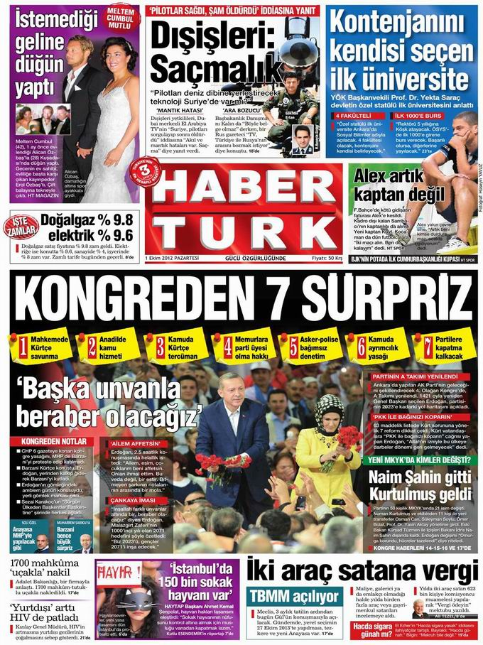 Gazete Manşetleri - 1 Ekim Pazartesi 18