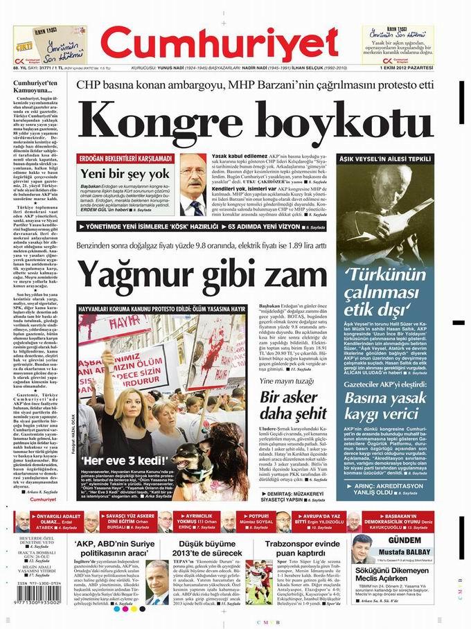 Gazete Manşetleri - 1 Ekim Pazartesi 19