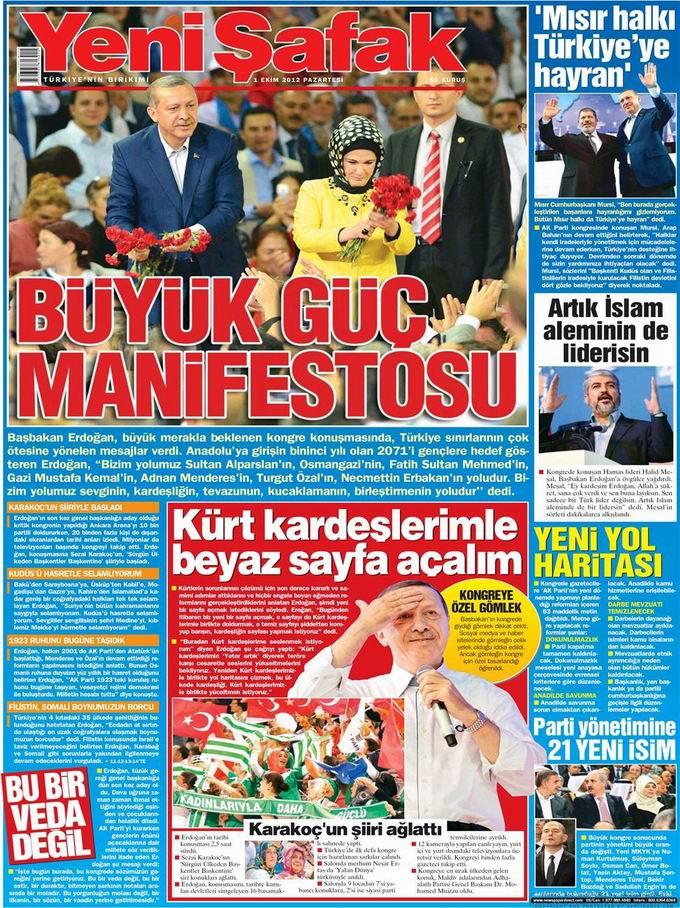 Gazete Manşetleri - 1 Ekim Pazartesi 2