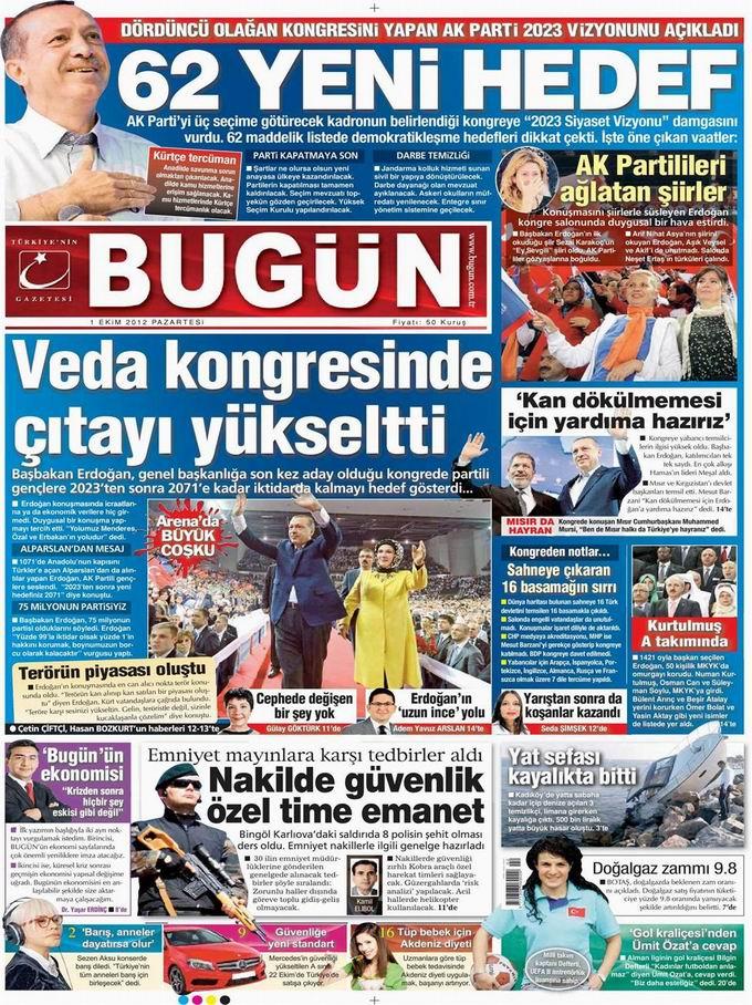 Gazete Manşetleri - 1 Ekim Pazartesi 20