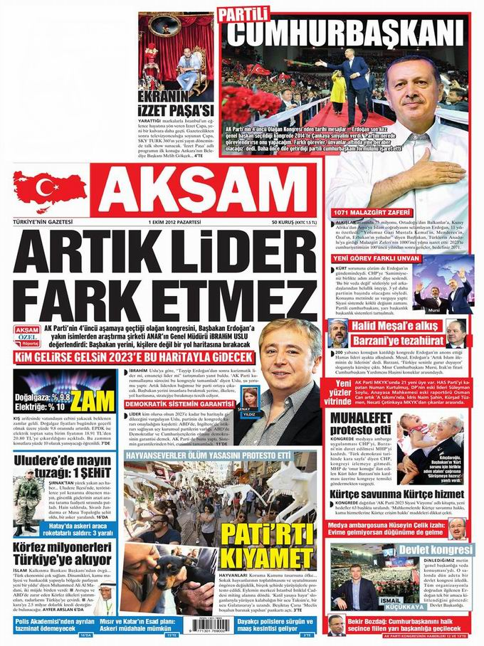 Gazete Manşetleri - 1 Ekim Pazartesi 22