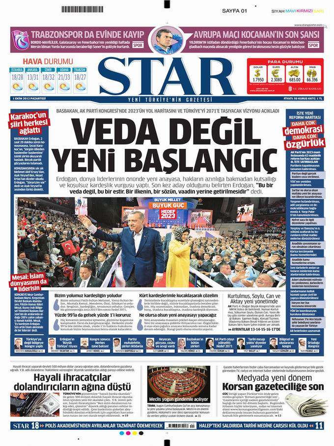 Gazete Manşetleri - 1 Ekim Pazartesi 9