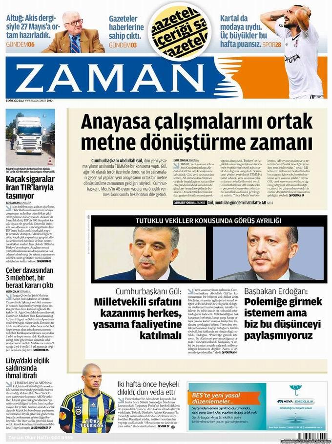 Gazete Manşetleri - 2 Ekim Salı galerisi resim 1