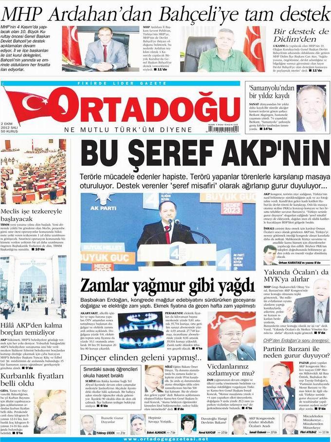 Gazete Manşetleri - 2 Ekim Salı 13