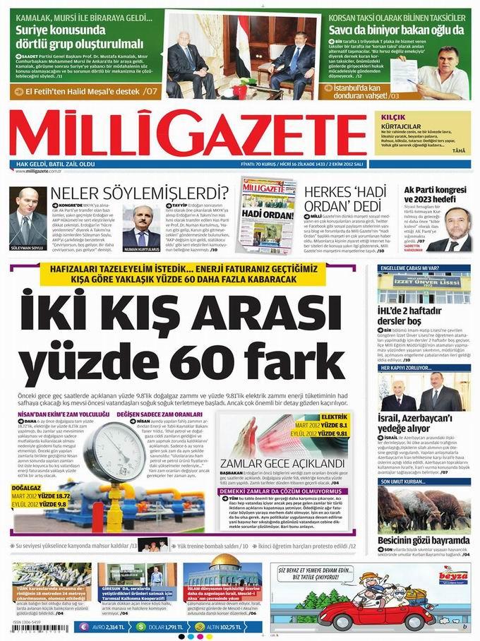 Gazete Manşetleri - 2 Ekim Salı 15