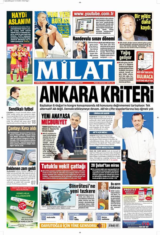 Gazete Manşetleri - 2 Ekim Salı 16