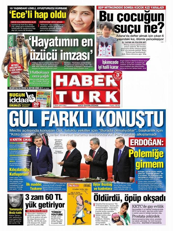 Gazete Manşetleri - 2 Ekim Salı 18