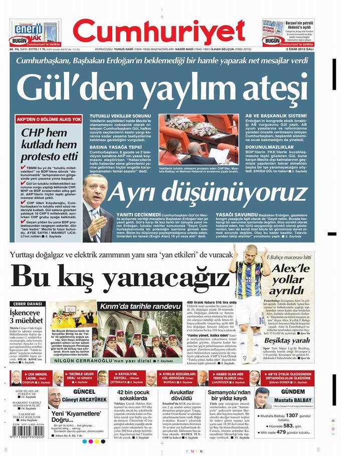 Gazete Manşetleri - 2 Ekim Salı 19