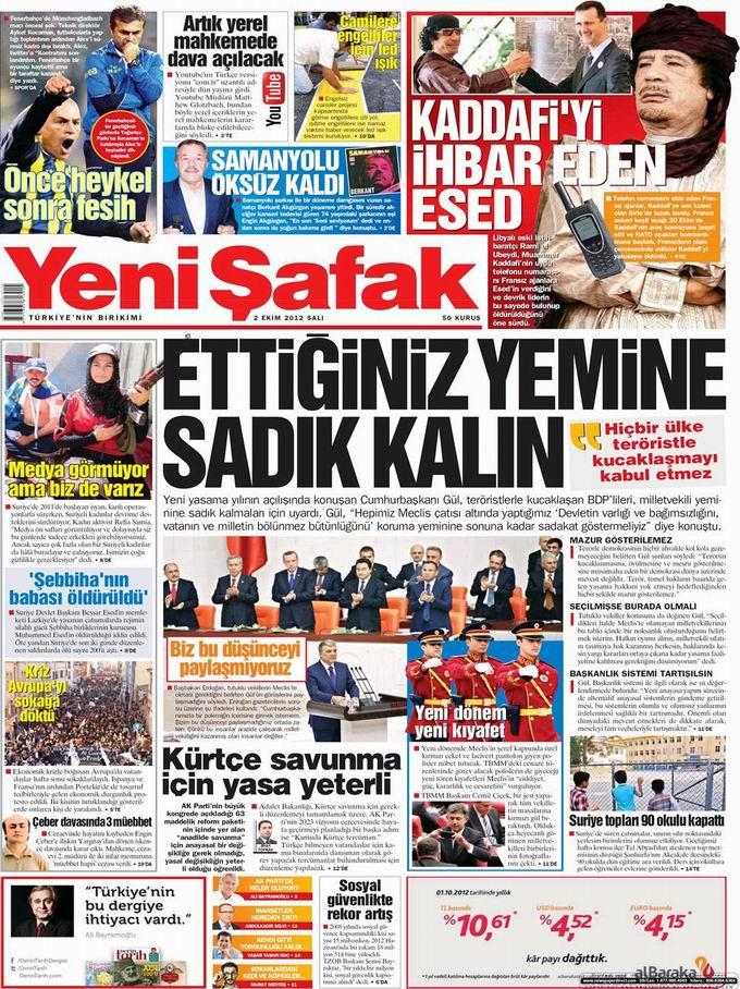 Gazete Manşetleri - 2 Ekim Salı 2