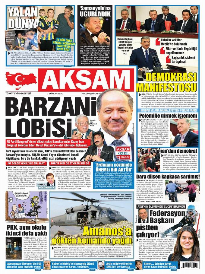 Gazete Manşetleri - 2 Ekim Salı 22