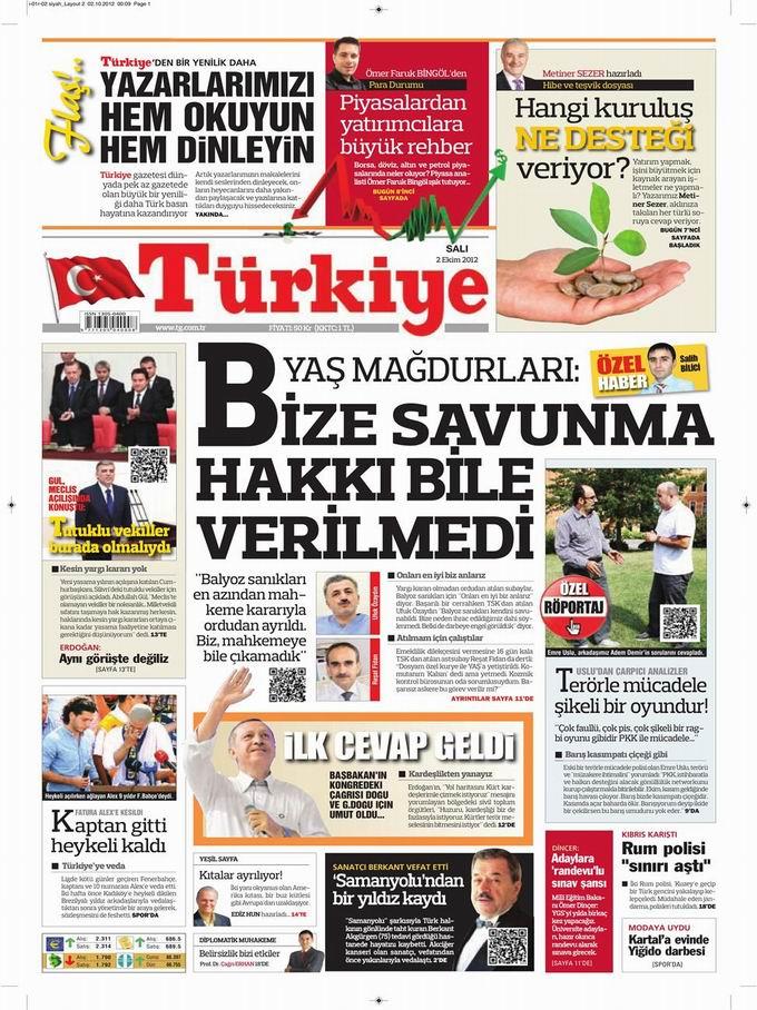 Gazete Manşetleri - 2 Ekim Salı 6