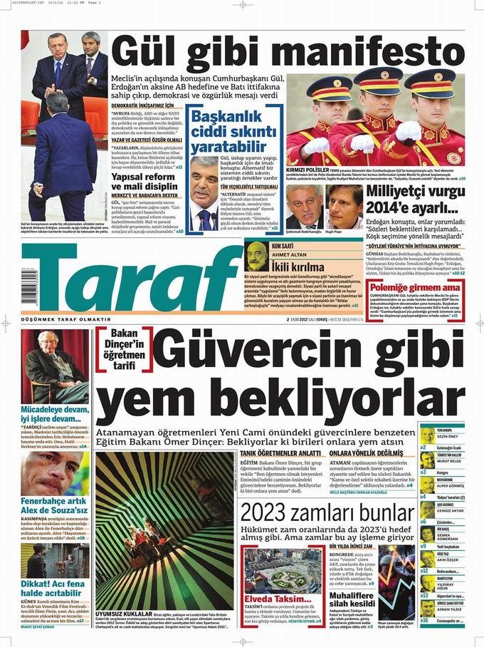 Gazete Manşetleri - 2 Ekim Salı 8