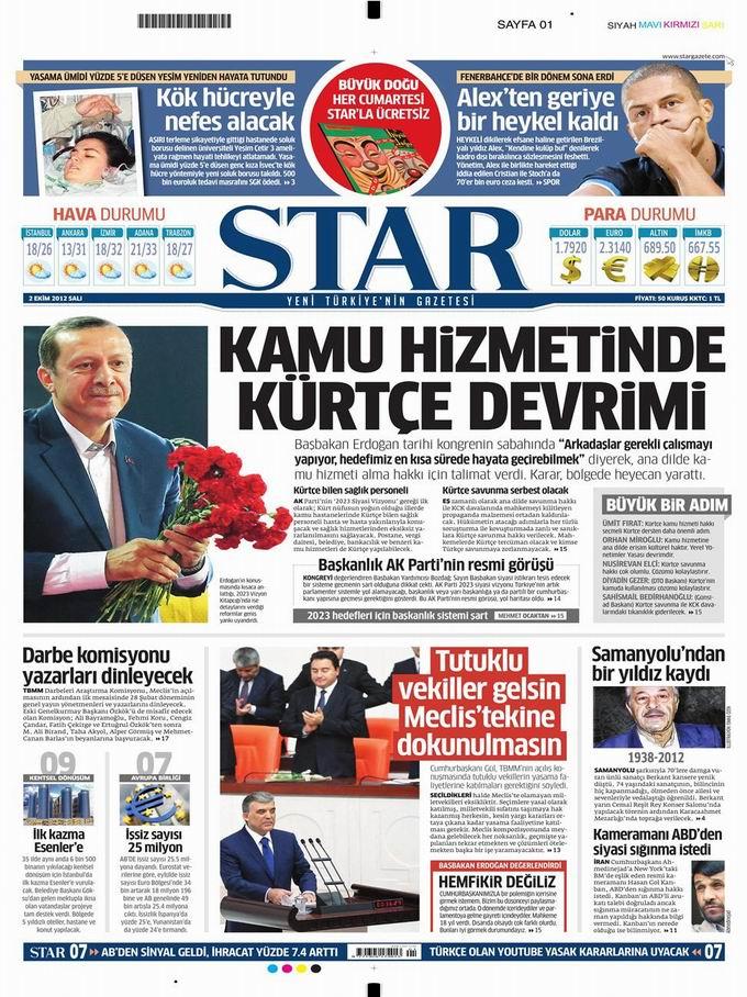 Gazete Manşetleri - 2 Ekim Salı 9