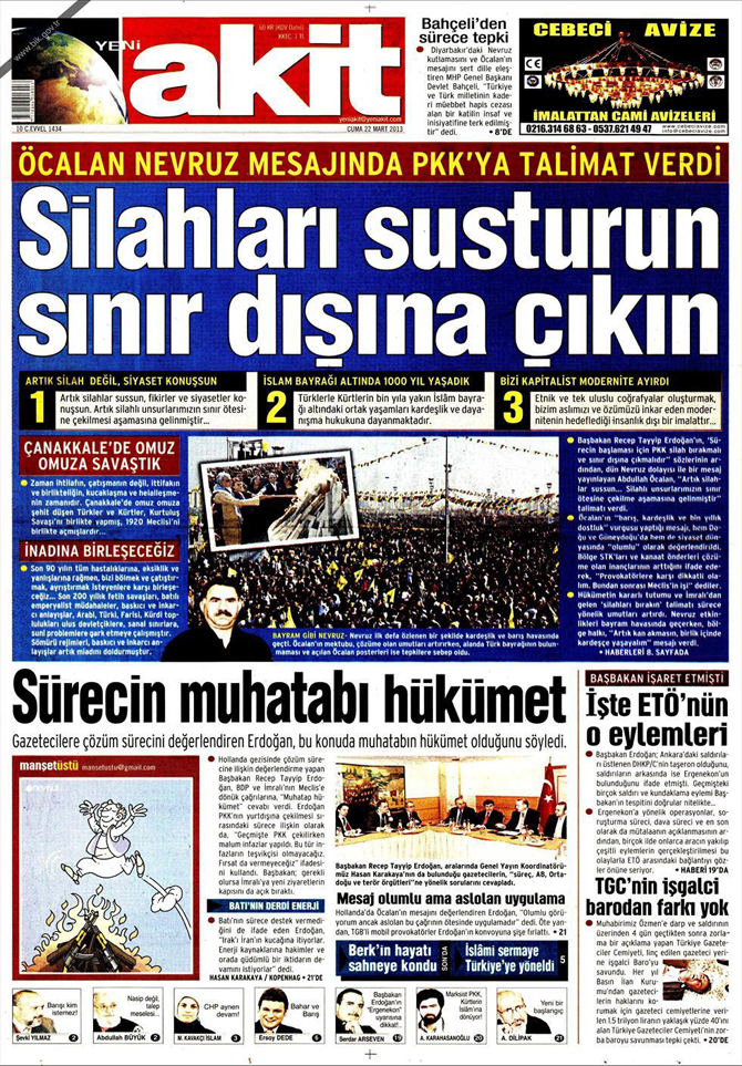 22 Mart 2013 - Günün Gazete Manşetleri 1