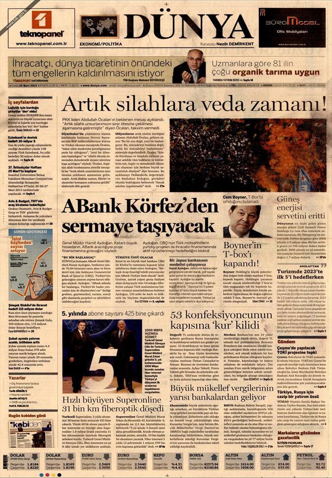 22 Mart 2013 - Günün Gazete Manşetleri 15
