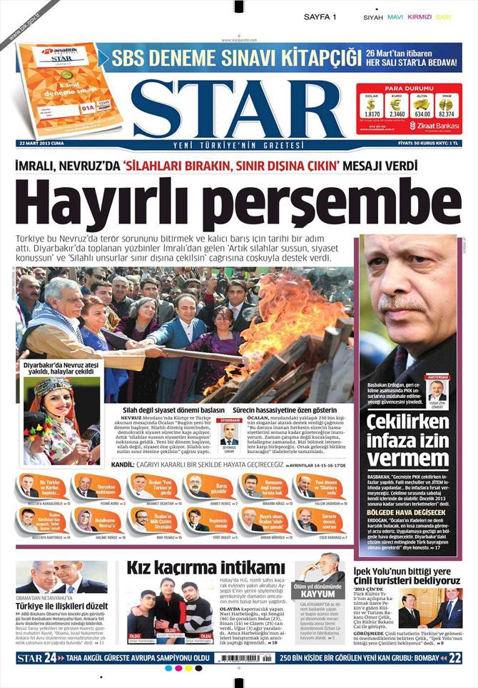 22 Mart 2013 - Günün Gazete Manşetleri 20