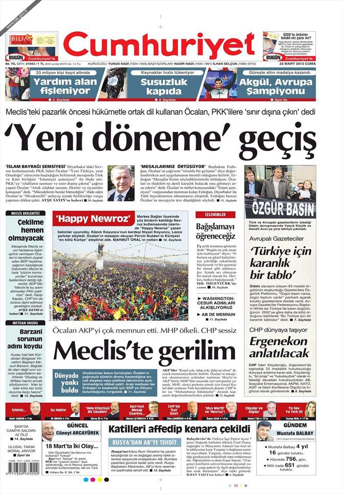 22 Mart 2013 - Günün Gazete Manşetleri 21