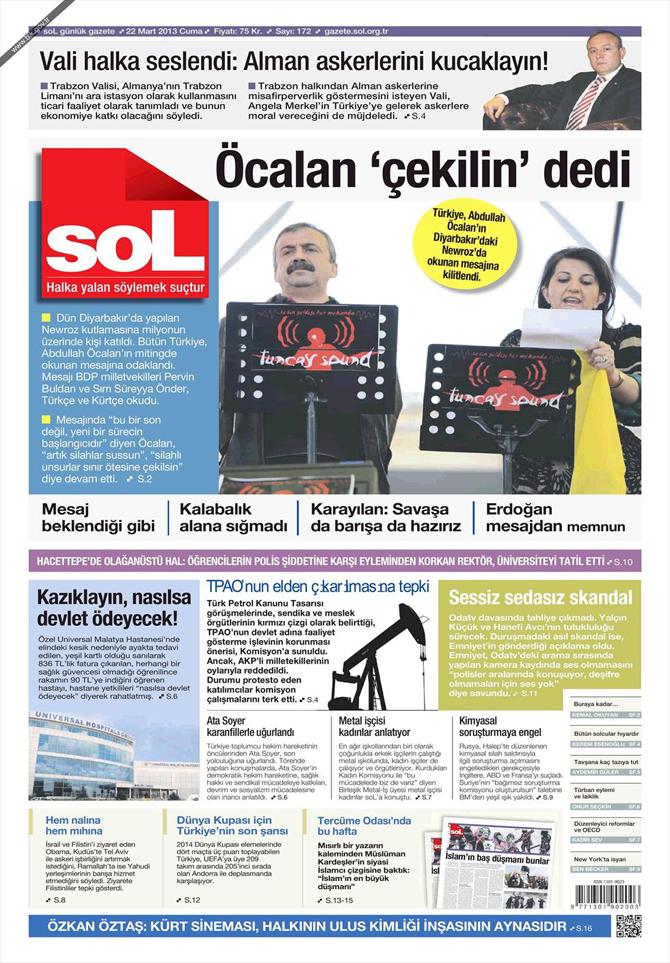 22 Mart 2013 - Günün Gazete Manşetleri 22