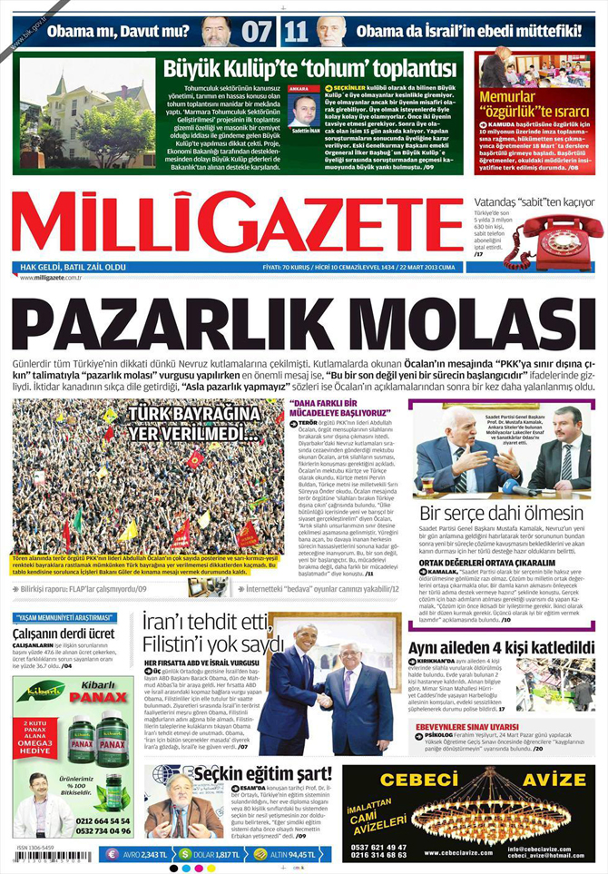 22 Mart 2013 - Günün Gazete Manşetleri 4