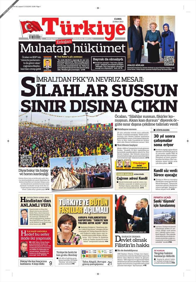 22 Mart 2013 - Günün Gazete Manşetleri 5