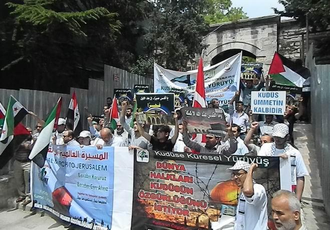 """Fatih'te """"Kudüs'e Küresel Yürüyüş"""" Eylemi 1"""
