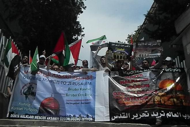 """Fatih'te """"Kudüs'e Küresel Yürüyüş"""" Eylemi 2"""