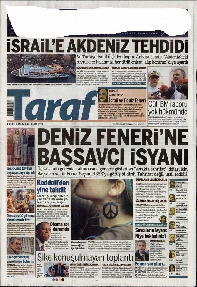 3 Eylül 2011 Gazete Manşetleri 16