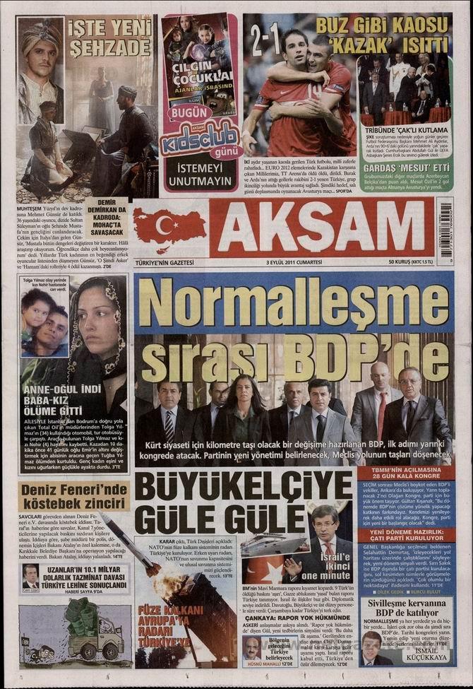 3 Eylül 2011 Gazete Manşetleri 2