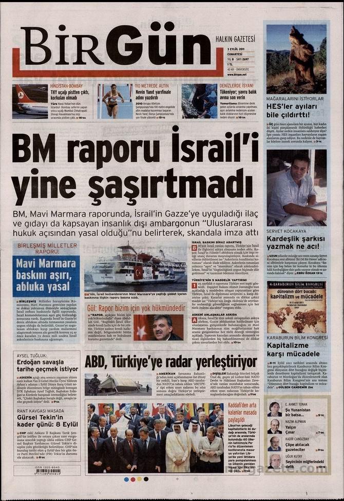 3 Eylül 2011 Gazete Manşetleri 3