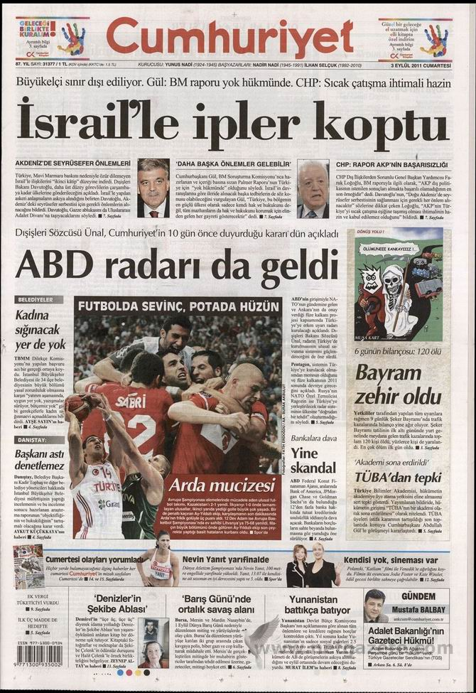 3 Eylül 2011 Gazete Manşetleri 5