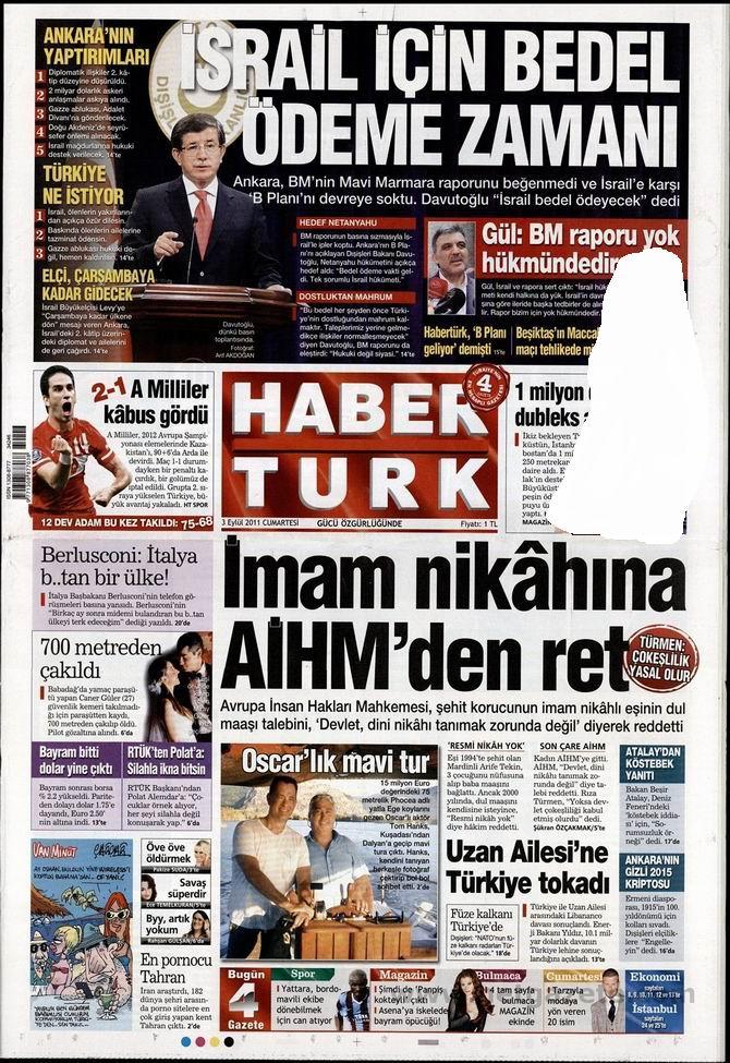 3 Eylül 2011 Gazete Manşetleri 7