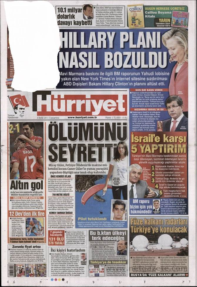 3 Eylül 2011 Gazete Manşetleri 8
