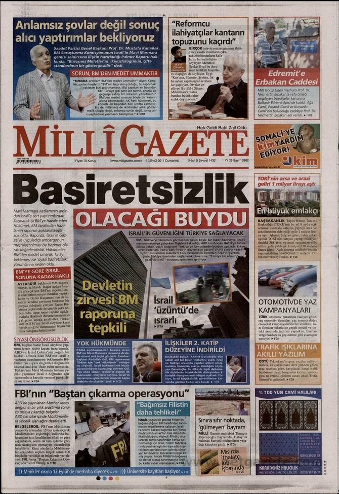 3 Eylül 2011 Gazete Manşetleri 9