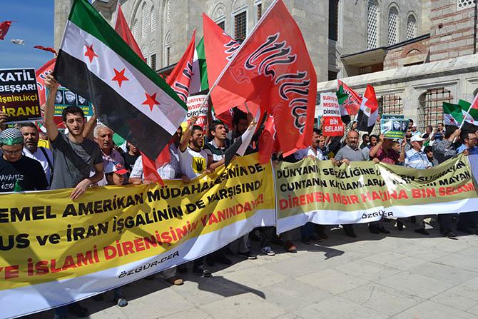 Fatih Camii'nde ABD, Rusya ve İran Protestosu 1