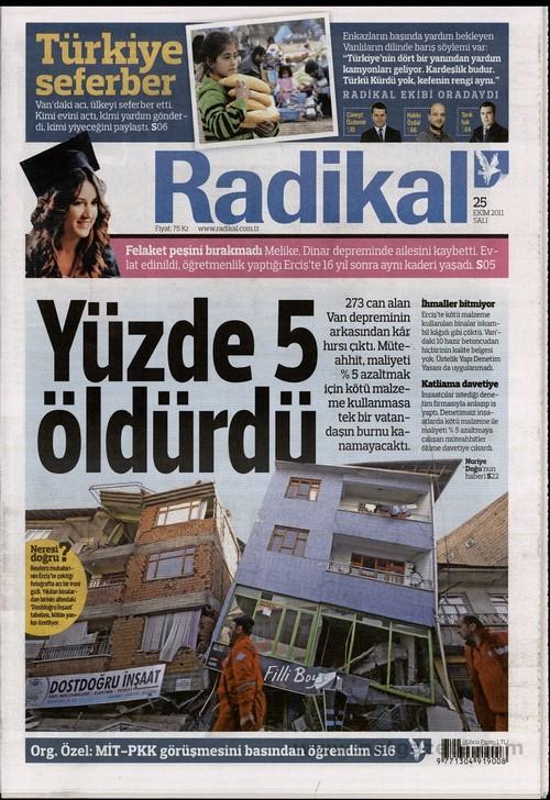 Gazete Manşetleri - 25 Ekim 2011 13
