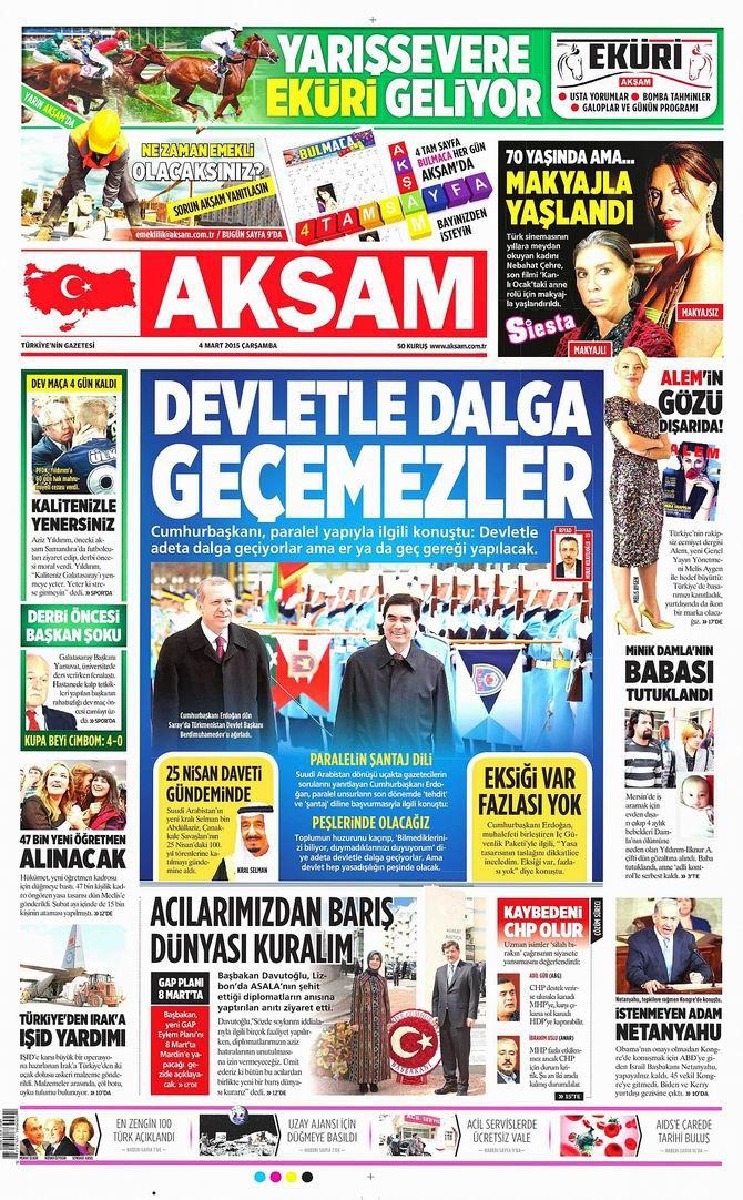 Gazete Manşetleri - 4 Mart 2015 galerisi resim 1