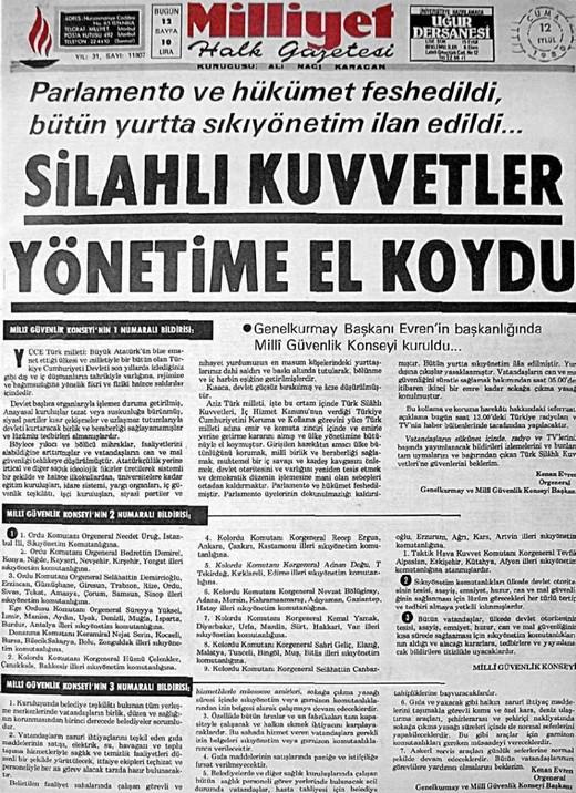 12 Eylül Darbesi Gazete Manşetleri 3