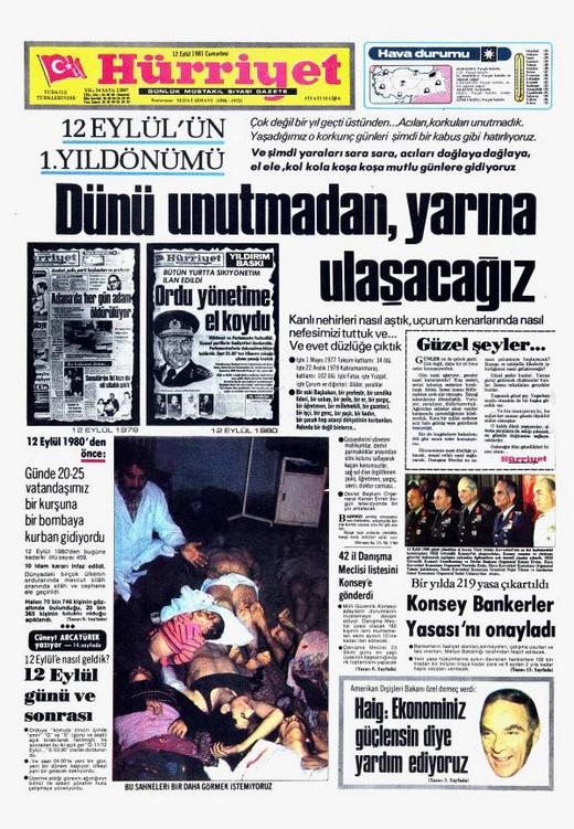 12 Eylül Darbesi Gazete Manşetleri 5