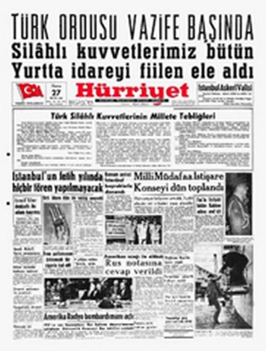 12 Eylül Darbesi Gazete Manşetleri 7