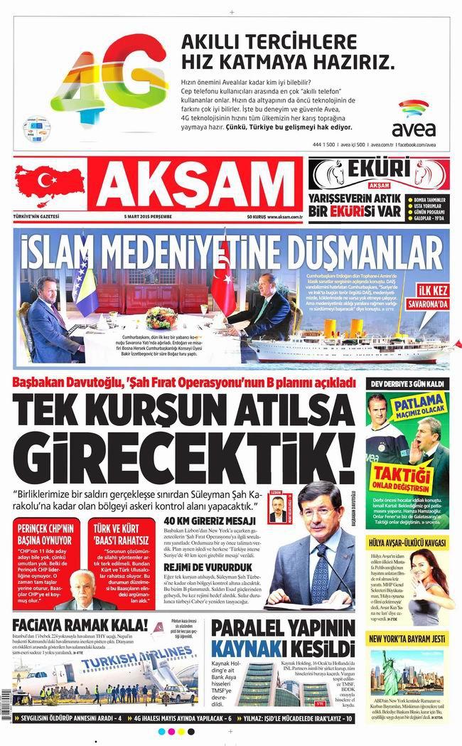 Gazete Manşetleri - 5 Mart 2015 galerisi resim 1