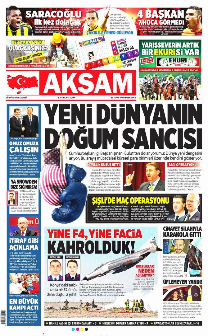 Gazete Manşetleri - 6 Mart 2015 galerisi resim 1