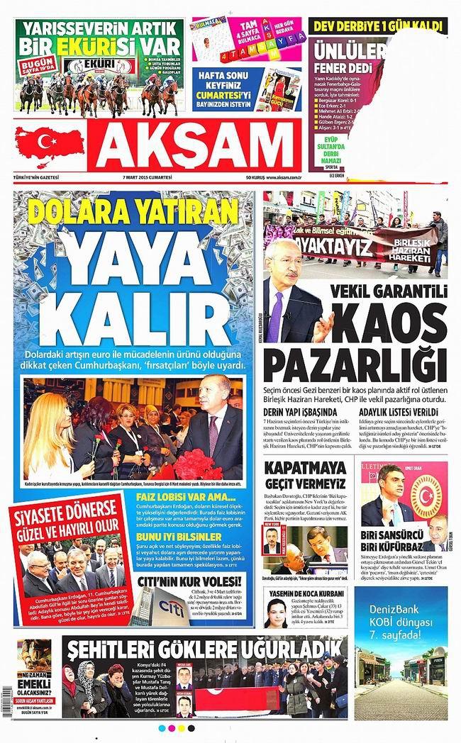 Gazete Manşetleri - 7 Mart 2015 galerisi resim 1