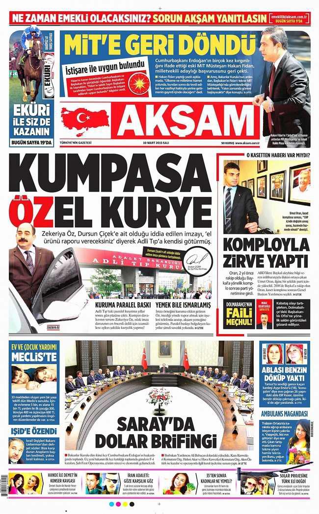 Gazete Manşetleri - 10 Mart Salı 2015 1