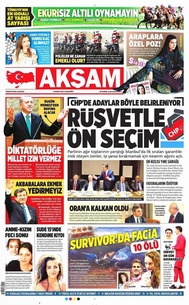 Bugünün Gazete Manşetleri - 11 Mart 2015 1