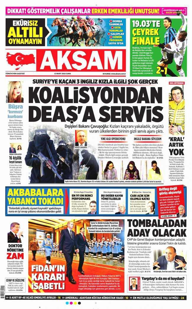 Bugünün Gazete Manşetleri - 13 Mart 2015 galerisi resim 1