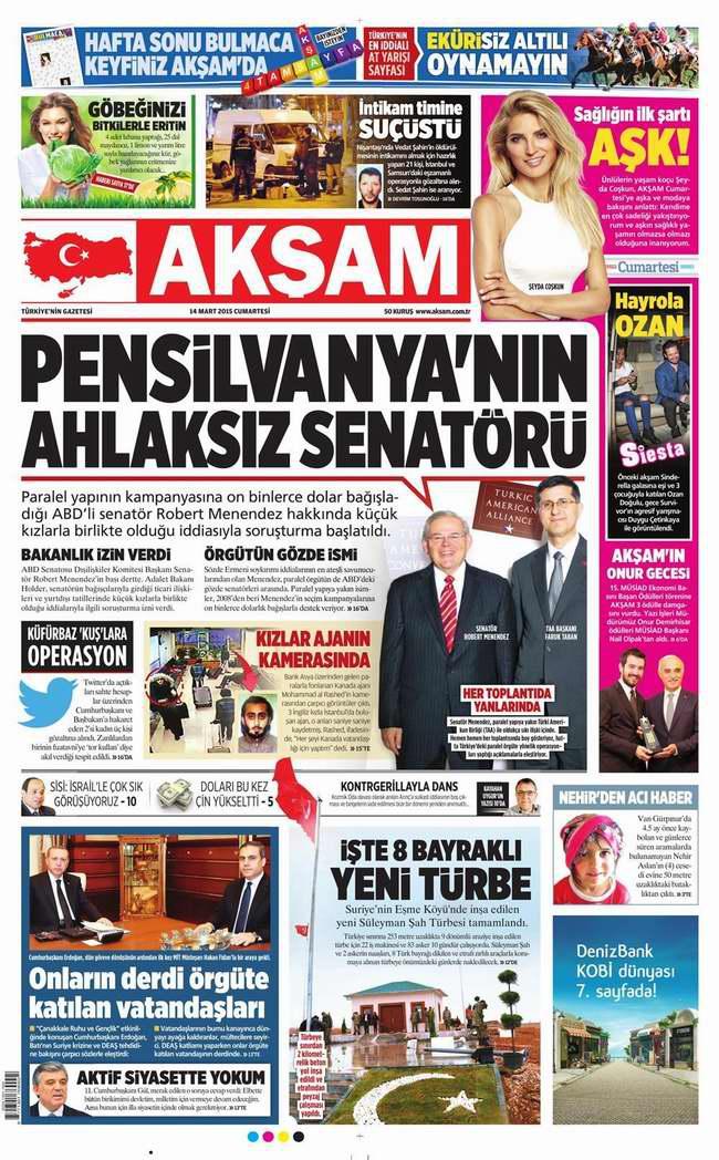 Bugünün Gazete Manşetleri - 14 Mart 2015 galerisi resim 1